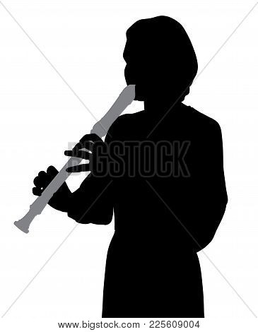 Woman Playing Recorder Flute. Isolated White Background. Eps File Available.