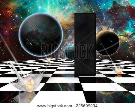 Planetary Armageddon. Massive meteorite - asteroid shower destroy planets. Black mystic monolith on chessboard. 3D rendering