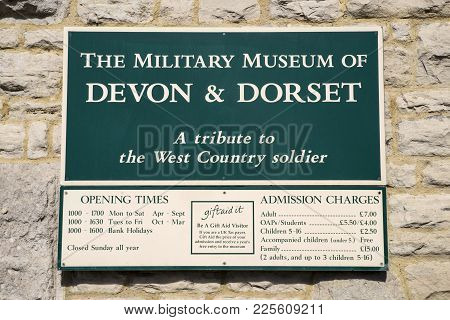 Dorchester, Uk - August 15th 2017: The Sign At The Main Entrance To The Military Museum Of Devon And