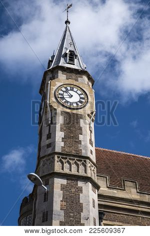 The Tower Of The Dorchester Corn Exchange Building In The Beautiful County Of Dorset, Uk.