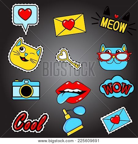 Fashion Patch Badges With Lips, Cats, Hearts, Meow, Letter, Perfume, Camera, Speech Bubbles,tongue,