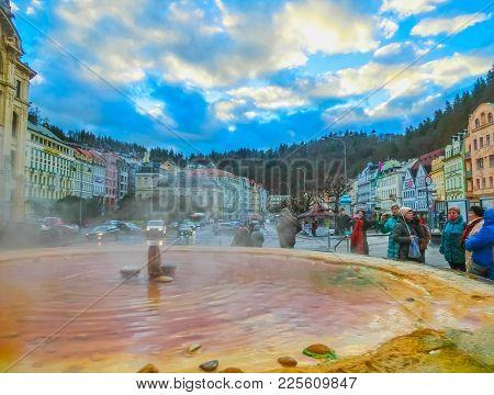 Karlovy Vary, Cszech Republic - January 01, 2018: Fountain With Hot Springs - The So-called Karlovar