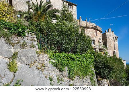 View Of Tourrettes-sur-loup, A Medieval Village In The Alpes-maritimes Department In Southeastern Fr
