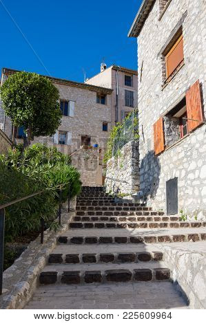 Street Of Tourrettes-sur-loup, A Medieval Village In The Alpes-maritimes Department In Southeastern