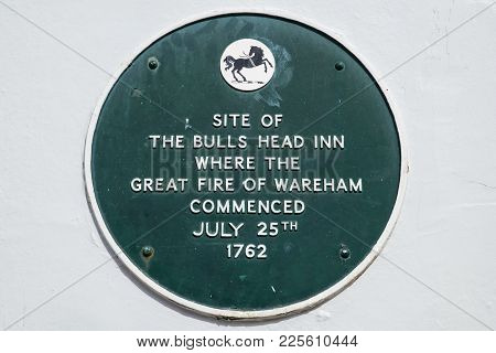 Dorset, Uk - August 16th 2017: A Plaque Marking The Site Where The Bulls Head Inn Once Stood And Whe