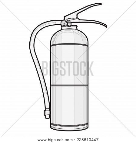 Outlined Extinguisher With Hose. Safety Fire-fighting Equipment. Firefighting Equipment And Fire Pro