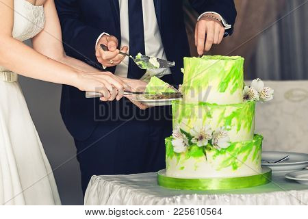 Newlyweds Cut Wedding Three-tiered Cake Of Green Color.