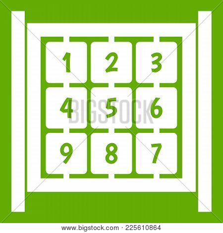 Cubes With Numbers On Playground Icon White Isolated On Green Background. Vector Illustration