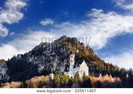 Splendid Scene Of Royal Castle Neuschwanstein And Surrounding Area In Bavaria, Germany (deutschland)
