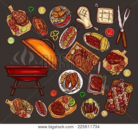Set Of Illustrations, Elements For Barbecue With Brazier, Bbq Accessories, Grilled Food, Various Mea