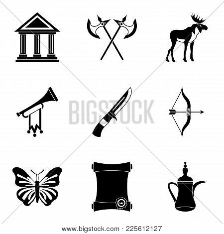Museum Business Icons Set. Simple Set Of 9 Museum Business Vector Icons For Web Isolated On White Ba