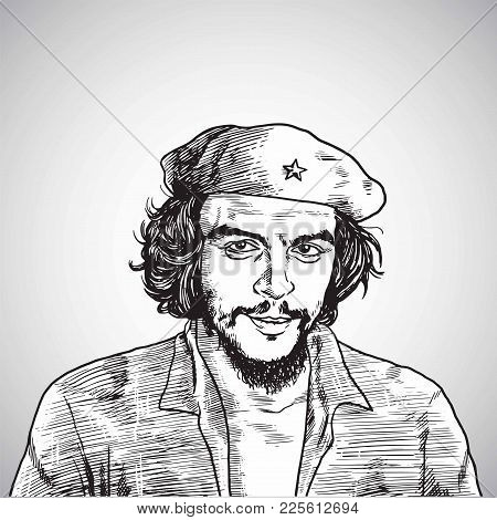 Che Guevara Vector Portrait Drawing Illustration Line Art. February 8, 2018