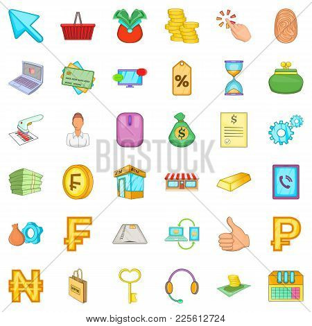 Bank Widget Icons Set. Cartoon Set Of 36 Bank Widget Vector Icons For Web Isolated On White Backgrou