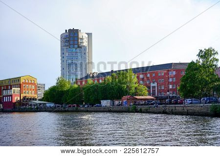 Kaliningrad, Russia - May 11, 2016: Modern Buildings On The Banks Of The River Pregolya In Black-and