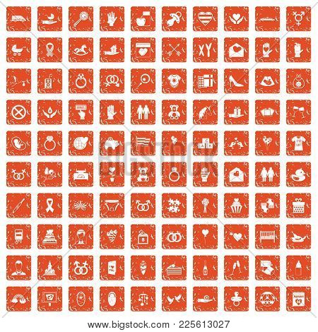 100 Love Icons Set In Grunge Style Orange Color Isolated On White Background Vector Illustration