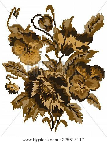 Brown Bouquet Of Flowers (poppies And Pansies) Using Traditional Ukrainian Embroidery Elements. Can