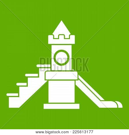 Slider, Kids Playground Equipment Icon White Isolated On Green Background. Vector Illustration
