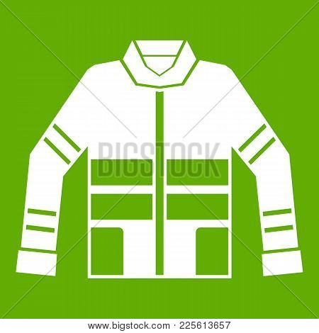 Firefighter Jacket Icon White Isolated On Green Background. Vector Illustration