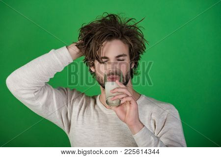 Headache Treatment, Hypnotic Tablet. Health And Medicine, Flu And Cold. Man With Water Glass, Hangov