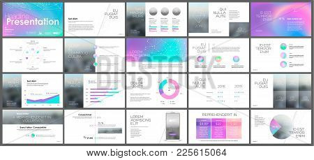 Template Presentation With A Palette Of Chameleon Holographic Flickering Colors. Vector Infographics