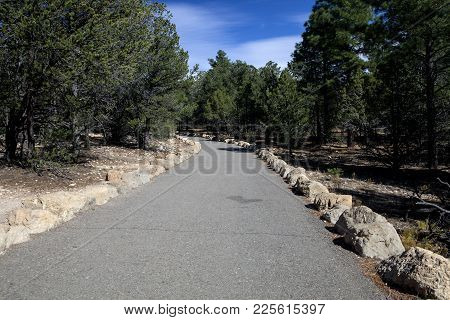 The Paved Path At The Grand Canyon National Park In Arizona