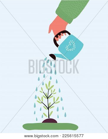 Vector Cartoon Illustration Of Watering Plant With Watering Can. Planting Plant. Isolated Object On