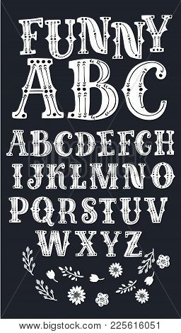 Vector Cartoon Latin Serif Alphabet Vector, Typography Design. Set Of Letters. Abc Made In Retro Wes
