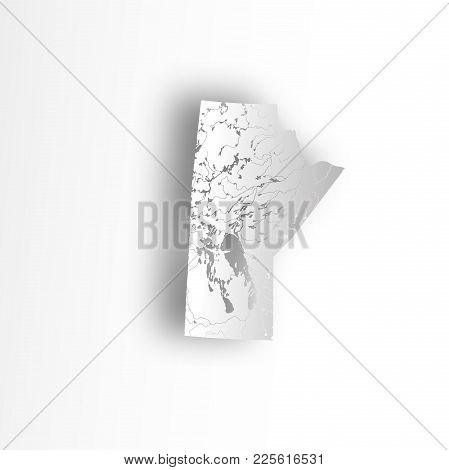 Provinces And Territories Of Canada - Map Of Manitoba With Paper Cut Effect. Rivers And Lakes Are Sh