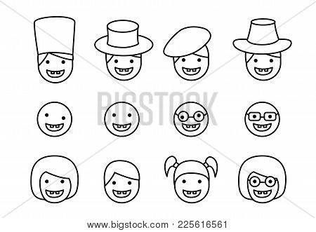 Set Of Down Syndrome Kid Icon In Linear Style, Vector