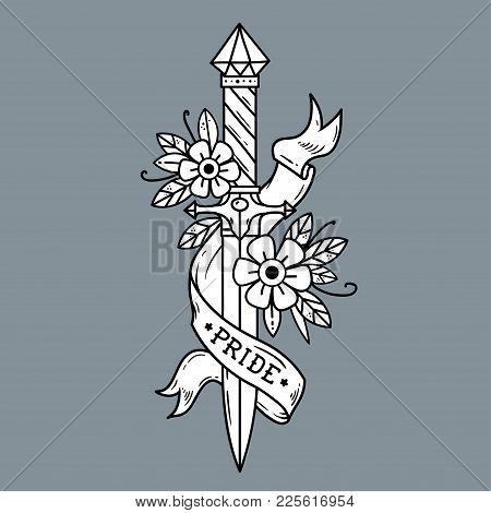Vector Tattoo Dagger With Flowers And Ribbon. Ancient Oriental Dagger Decorated With Large Sapphire.