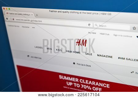 London, Uk - August 10th 2017: The Homepage Of The Official Website For H&m, The Swedish Multination