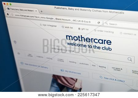 London, Uk - August 10th 2017: The Homepage Of The Official Website For Mothercare, The British Reta