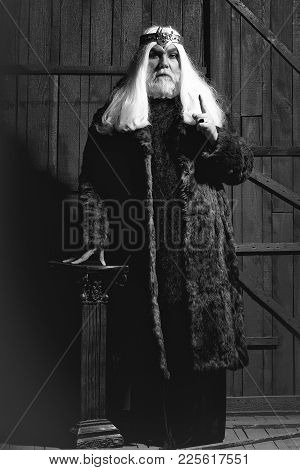 Old Druid Bearded Man With Long Beard On Serious Face And Hair In Fur Coat And Crown With Gem Stones