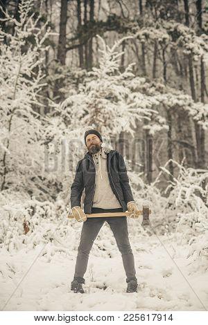 Man Lumberjack With Ax. Skincare And Beard Care In Winter, Beard Warm In Winter. Temperature, Freezi
