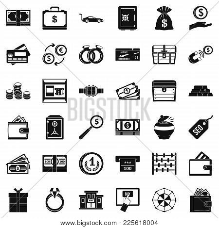 Amount Of Money Icons Set. Simple Set Of 36 Amount Of Money Vector Icons For Web Isolated On White B