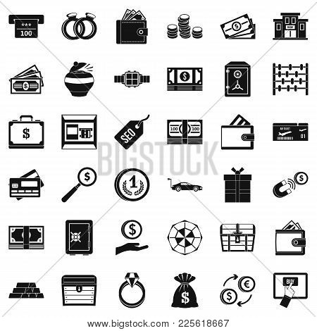 Sum Icons Set. Simple Set Of 36 Sum Vector Icons For Web Isolated On White Background