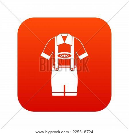 T-shirt And Pants With Suspenders Icon Digital Red For Any Design Isolated On White Vector Illustrat