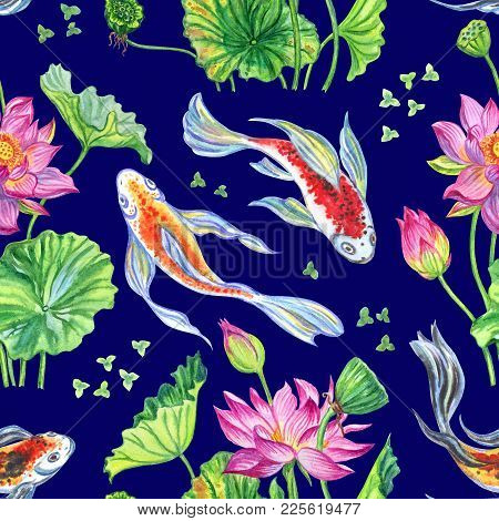 Seamless Pattern Of Lotus Flowers And Japanese Koi, Hand-drawing. Seamless Pattern From Lotus And Fi