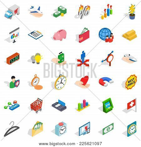 Cash Department Icons Set. Isometric Set Of 36 Cash Department Vector Icons For Web Isolated On Whit