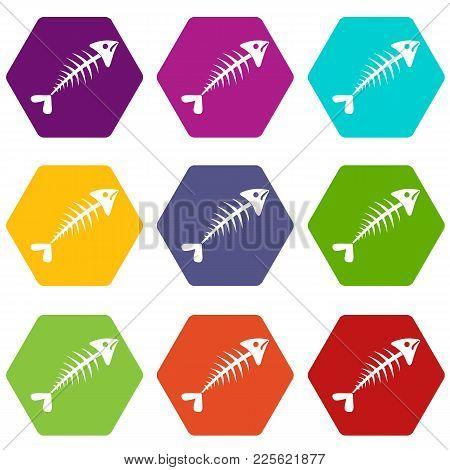Fish Bone Icon Set Many Color Hexahedron Isolated On White Vector Illustration