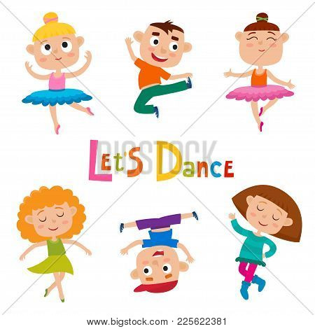 Vector Cartoon Illustration Of Little Graceful Girls-dancer And Happy Hipster Boys Isolated On White