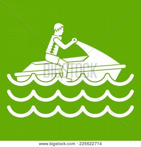 Man On Jet Ski Rides Icon White Isolated On Green Background. Vector Illustration