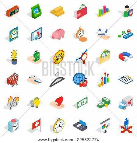 Bank Money Icons Set. Isometric Set Of 36 Bank Money Vector Icons For Web Isolated On White Backgrou