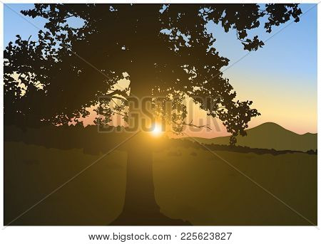 Image Landscape. Brightly Sun In Mountains. Colorful Sky.