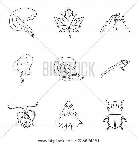 Native Icons Set. Outline Set Of 9 Native Vector Icons For Web Isolated On White Background