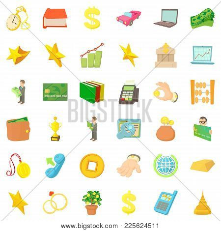 Material Value Icons Set. Cartoon Set Of 36 Material Value Vector Icons For Web Isolated On White Ba