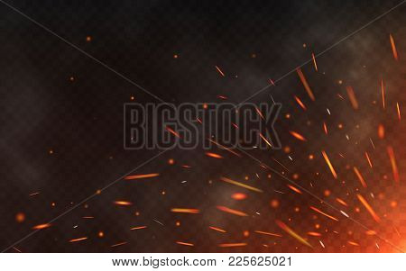 Fire Sparks Flying Up On Transparent Background. Smoke And Glowing Particles On Black. Realistic Lig