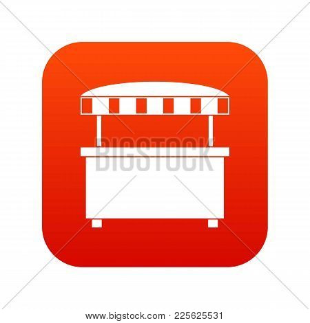 Street Stall With Awning Icon Digital Red For Any Design Isolated On White Vector Illustration