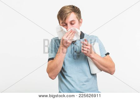 Young Man With Handkerchief. Sick Guy Isolated Has Runny Nose