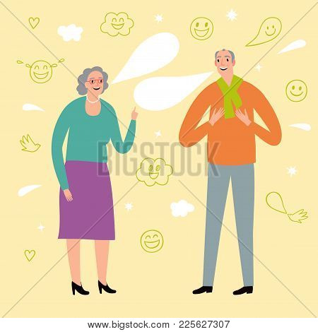 Retired Man And Woman Talking And Laughing. Joke And Fun Illustration With Doodle Elements.